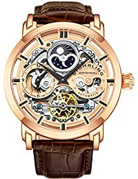 Stuhrling Original Mens Automatic-Self-Wind Luxury Dress Skeleton Dual Time Rose Gold Wrist-Watch 22 Jewels 47 mm Stainless Steel Case Decorative Exposed Back Embossed Supple Genuine Leather Strap