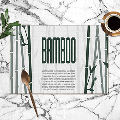 best gift Bamboo Forest Set Nature Japan China Washable Placemats for Dining Table Double Fabric Printing Polyester Place Mats for Kitchen Table Set of 6 Table Mat 12
