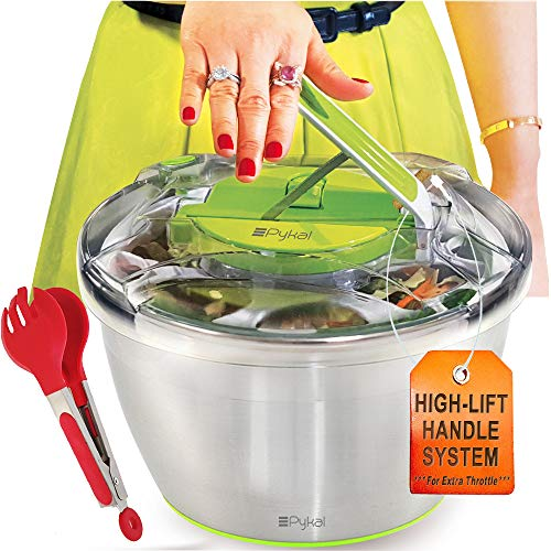Large Stainless Steel Salads Spinner - Lettuce Dryer with FREE Tongs, Fast Dry action, Non-Slip Base, Dishwasher Safe Bowl with Colander & Push Handle Lever by PYKAL