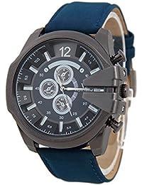 Reloj de pulsera - V6 Reloj de pulsera de cuero de imitacion de esfera para hombres(correa azul y caja negra)
