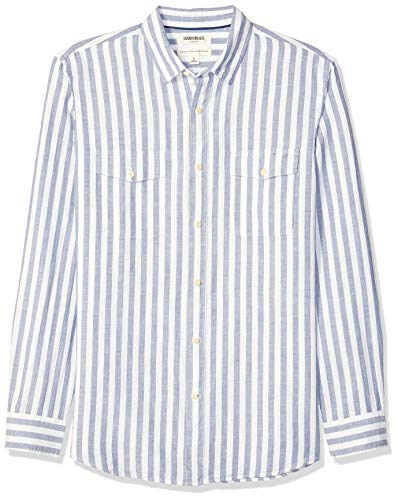 Goodthreads - Camisa algodón lino manga larga corte