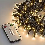 Lichterkette 32,4 m, 400 Mini LEDs warmweiß, mit Fernbedienung und Zeitschaltuhr, grünes Kabel, Innen/Außen