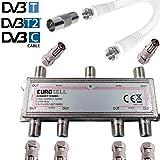 TronicXL 6fach Antennenverteiler IEC Verteiler TV Kabel Adapter Kabelfernsehen 6 er DVBC DVBT2 zb für Unitymedia