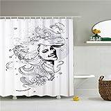 Weiß Haar Mädchen Wasserdicht Duschvorhang 72von 72