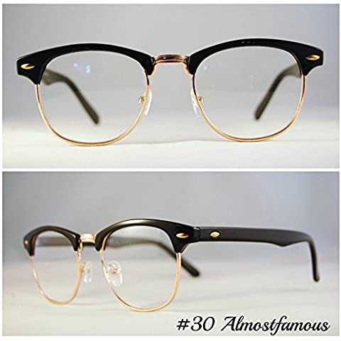 Moda classica Clubmaster cornice Nerd Retro Vintage Wayfarer Nero Rotondo Nero Lente Trasparente Occhiali Eyewear mondo Eye