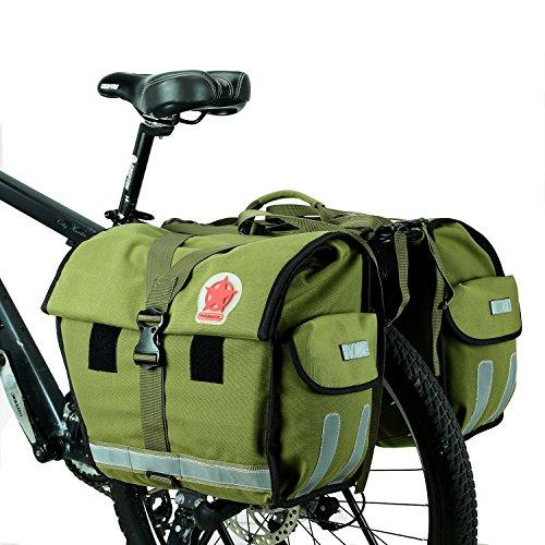 DCCN Fahrrad Gepäckträgertasche Doppeltasche 45L Fahrradtasche Packtasche mit Reflektorstreifen und Regenhülle,37 x 20 x 32 cm,Militärgrün