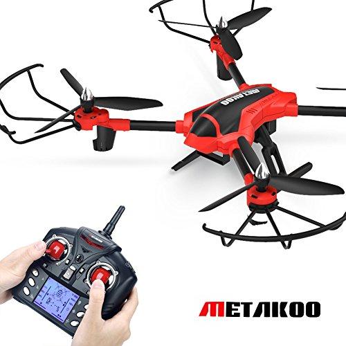 Metakoo Drohne mit Kamera RC Quadcopter Drone Kamera 720P HD Höhenhaltung Headless Opulence 3D Go mad 2.4GHz 4CH 6 Axis Gyro LED Beleuchtung Ferngesteuertes Flugzeug Spielzeug Rot