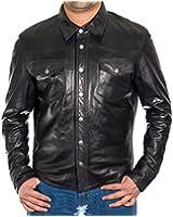 Mens Black Slim Fit Real Soft leather Shirt Style Designer Fitted Denim Levis Style Western Trucker Jacket