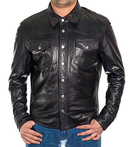 Vera Pelle uomo intelligente Equipaggiata Camicia di jeans giacca vite prigioniera di stile del tasto Trucker Nero