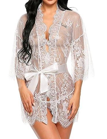Avidlove Women's Sexy Lingerie Dress Long Sleeve Sheer Kimono Lace Robe See Through Mesh Sleepwear With G-String White XX-Large