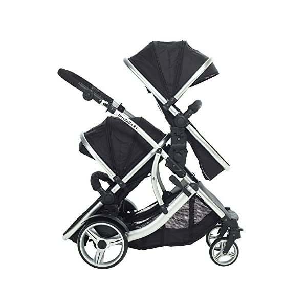 Duellette 21 Combo Twin Tandem Pushchair Baby Newborn carrycots Pram Travel system : 2 Pramette/seat units, 2 FREE Black footmuffs 2 Rain covers, Midnight Black by Kids Kargo Kids Kargo Demo video please see link https://www.youtube.com/watch?v=X_tEcnQ8O8E Compatible with car seats; Kids Kargo, Britax Baby safe or Maxi Cosi adaptors. Versatile. Suitable for Newborn Twins: Both carrycots have mattress and soft lining, which zip off. Remove lining and lid, when baby grows out of carrycot mode. Converts to a full sized seat unit, with 5 point harness. 6