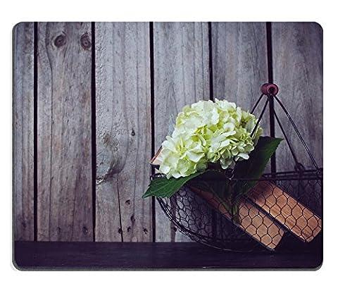 luxlady Mousepads weiß Hortensie Blumen und Vintage Bücher in einer Metall Korb auf einen hölzernen Bild 34330372Individuelle Art Desktop Laptop Gaming Mauspad