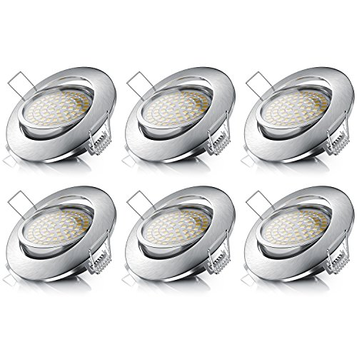 Brandson - 6 x Focos LED empotrable Regulable y Regulable Luz LED...