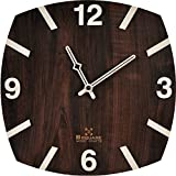 #7: BSQUARE 12 inches Handcrafted Wooden Wall Clock Teak Red BSWC041