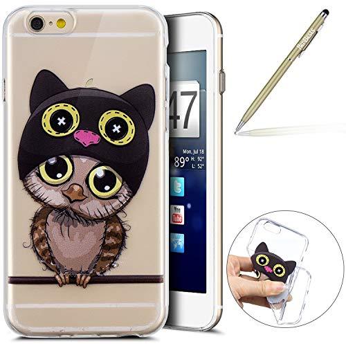 Herbests Kompatibel mit Handy Tasche iPhone 6S 4.7 Silikon Hülle Durchsichtige Schutzhülle Crystal Clear Transparent Ultra Dünn Handyhülle Silikonhülle Kristall Klar TPU Bumper,Karikatur Eule