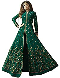 AnK Women's Green Georgette Embroidered Semi-Stitched Long Anarkali Salwar Suit