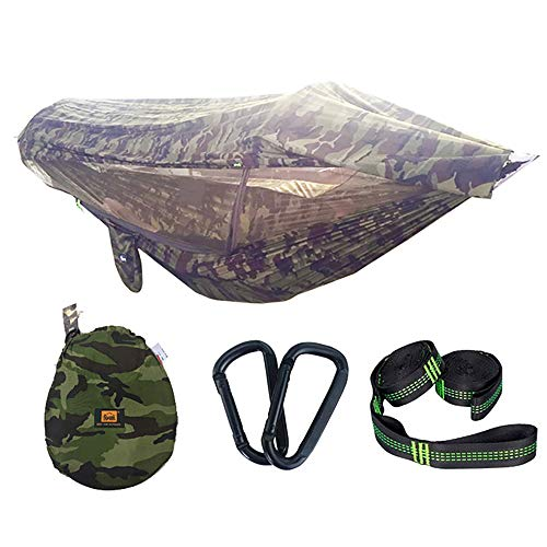 REDWALL® Camping-Hängematte mit Moskitonetz Visier Tuch, Tragbare Fallschirm-Hängematten mit Pop-Up-Licht Netzzelt für Outdoor, Wandern, Backpacking, Reisen - Die Brasilianische Holz-möbel