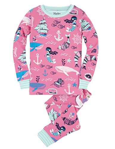 Hatley 100% Organic Cotton Long Sleeve Printed Pyjama, Set Pigiama Bambina, Pink (Sweet Mermaid), 2 anni