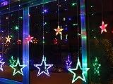 Homedecoam LED Sternenvorhang mit 138 LED-Lichter AC 220V 200cmx 60cm/ 200cmx 100cm Weihnachtlicher Lichtervorhang Lichterkette Stern Weihnachtsdekoration Dekoleuchte Dekolicht Bunt