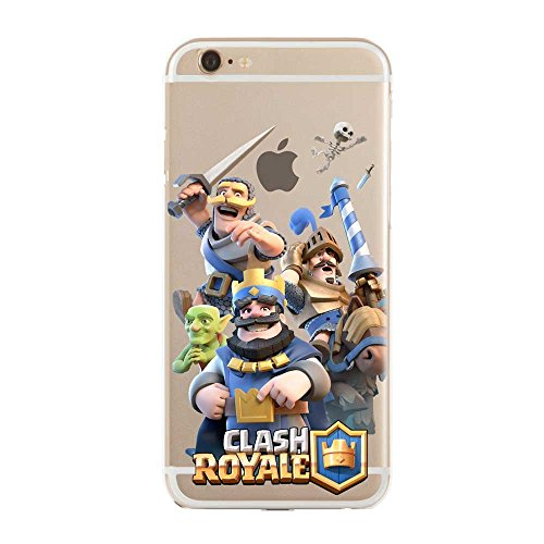 TPU Softcae Weiß Protective Schutzhülle Handycover Etui Bumper Staubdicht Telefon-Kasten Case Shell Abdeckung Back Cover Gaming Collection Clash Royale iPhone 6 6S Royale Collection