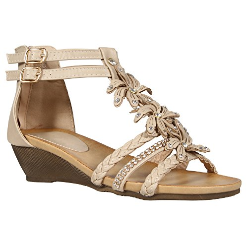ladies-womens-gladiator-strappy-wedge-summer-flower-beach-sandals-low-heel-back-zip-shoes-size-3-8-d