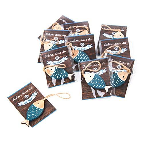 eine Fische Holz Give-Away Gastgeschenk mit Schnur zum Aufhängen SCHÖN DASS DU DA BIST Mini-Karte blau türkis weiß maritim Deko Hochzeit Fest Holzfisch ()