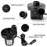 KERUITA Air Pump, Air Mattress Pump for Inflatable Blow up Pool Raft Bed Boat Toy Exercise Ball, 110V AC/12V DC Quick-Fill AC/DC Inflator&Deflator with 3 Nozzles