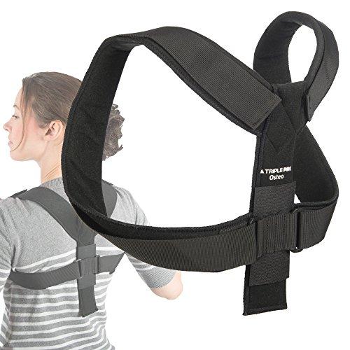 Soporte ajustable para espalda Triple Pro® Osteo, corrector de postura para hombre y mujer. Corrige al instante la mala postura y proporciona soporte torácica y clavícula; cómodo y discreto, talla única