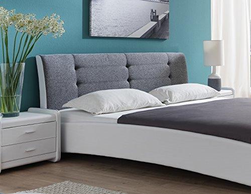 SAM Design Polsterbett 140×200 cm Bastia, weiß/grau, Kopfteil abgesteppten Design, Chromfüßen, als Wasserbett verwendbar