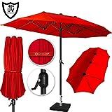 Kesser® Sonnenschirm Doppelsonnenschirm | Gartenschirm | Marktschirm | Terrassenschirm mit Handkurbel | Oval | Aluminium | UV-beständig | wasserabweisenden | Rot
