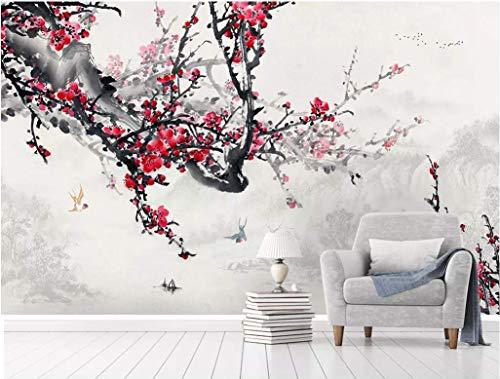 HONGYUANZHANG Tinte Pflaume Vogel Tapete Des Foto-3D Künstlerische Landschafts-Fernsehhintergrund-Tapete,44Inch (H) X 76Inch (W)