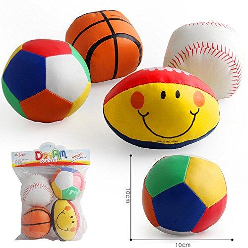 Bady Spielzeug Intelligenz entwickeln Weicher Ball-Fußball-lächelnder Rugby des Baby-4PC drückte pädagogische Spielwaren zusammen Verbessern Sie die praktischen Fähigkeiten (Large)