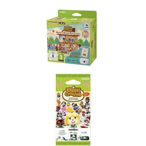 Pack Animal Crossing : Happy Home Designer + Lecteur NFC pour Nintendo 3DS + 1 Carte Amiibo + Paquet de 3 cartes
