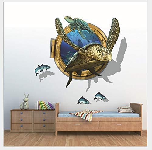 KaiXINSun Schildkröte Wandaufkleber Hause Schlafzimmer 3D Dekoration Schlafzimmer Kinderzimmer Wohnzimmer Wasserdicht Wandbild