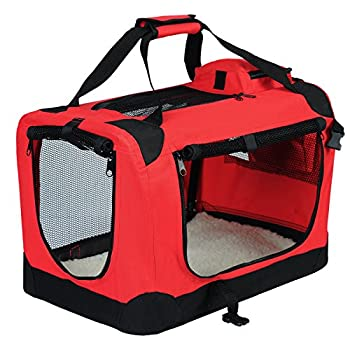EUGAD 0111HT Cage de Transport en Oxford Sac de Transport Pliable pour Chien ou Chat,Rouge 60x42x42cm