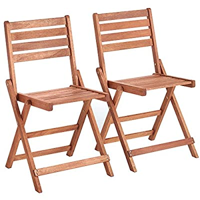 VonHaus Set of 2 Folding Wooden Garden Chairs with FREE Extended 2 Year Warranty