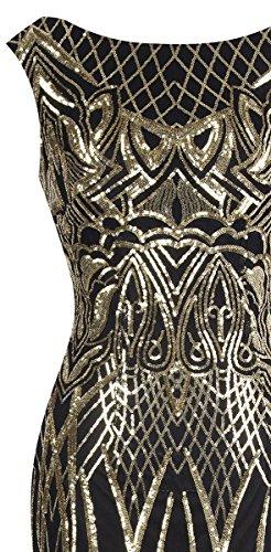 Angel-fashions Damen Ohne Arm Pailletten Baum Ast Net Meerjungfrau-Kleid-Kleid (XL, Schwarzes Gold) - 4