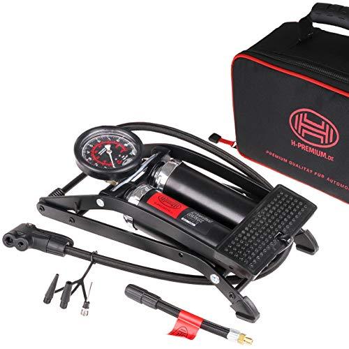 """HEYNER® 225010 Fußpumpe \""""Black Edition\"""" 2 Zylinder Luftpumpe 10 Bar + Tasche"""