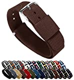 BARTON Watch Bands Uhrenarmband, Farb- und Längenauswahl (18 mm, 20 mm, 22 mm oder 24 mm), Bänder aus ballistischem Nylon, unisex, BROWN18, schokobraun, 18mm - Standard (10