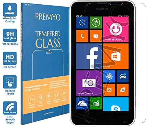 PREMYO Panzerglas für Nokia Lumia 630 Schutzglas Bildschirm-Schutzfolie für Lumia 630 Blasenfrei HD-Klar 9H 2,5D Echt-Glas Folie kompatibel für Lumia 630 Gegen Kratzer Fingerabdrücke