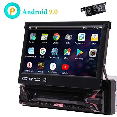7 Pollici Android 9.0 Stereo Touchscreen Capacitivo Navigazione GPS per Auto Quad Core 1 GB 16GB Singolo 1 DIN Dvd Radio Bluetooth WiFi 4G Specchio Link Controllo del Volante con Wireless Camera