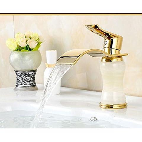 SUN-Placcato oro cascata beccuccio bagno rubinetto lavabo singola maniglia lavabo Tap , d