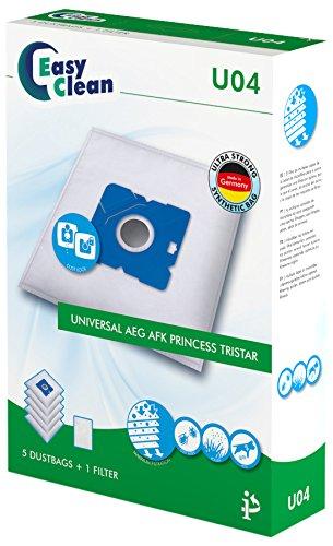 EasyClean EC-.U04, Universal, AEG, AFK, Princess, Tristar, 5 Mikrofaser Staubsaugerbeutel und 1 Motorfilter