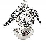 Legisdream - Collar con Colgante de Reloj - Reloj de Bolsillo y alas Mago - Oro - Color Plata - Joya para Amistad Amigos del corazón - Regalo de San Valentín Amor