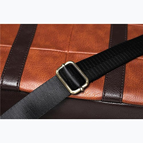 Herren Laptoptasche Bote Schultertasche Leder PU Aktentasche Kreuzkörper Taschen Brown