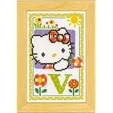 Vervaco - Kit para cuadro de punto de cruz, diseño de Hello Kitty con la letra V, multicolor
