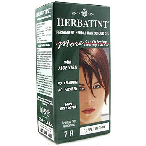 Confezione da 4x Herbatint permanente Herbal haircolour Gel 7R Biondo Rame-135ml
