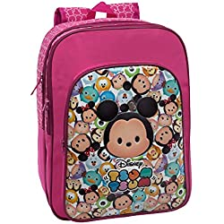 Tsum Tsum Mochila Doble Compartimento Adaptable a Carro, Color Rosa, 27.72 Litros
