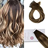 Moresoo Multi Colour Balayage Brown #4 Mixed Caramel Blonde #27 Tape In Echthaar Extensions 24zoll Haarverlängerung Remy Echthaar Glatt 20Pcs 50Gramm
