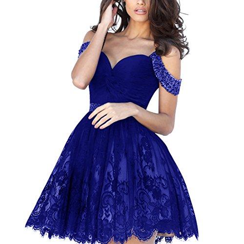 Find Dress Femme Elégant Style Sexy Robe de soirée/Cocktail/Mariage Courte Hors de L'épaule en Dentelle avec des Perles Bleu Foncé